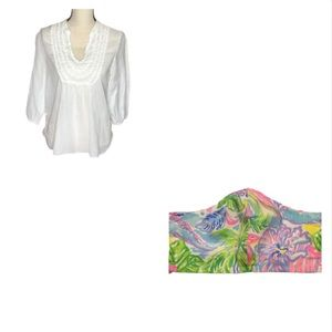 Lilly Pulitzer White Ruffle 3/4 Sleeve Top & Mask
